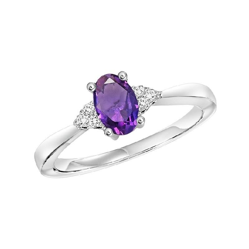 10KT White Gold Birthstone Ring - Amethyst - February