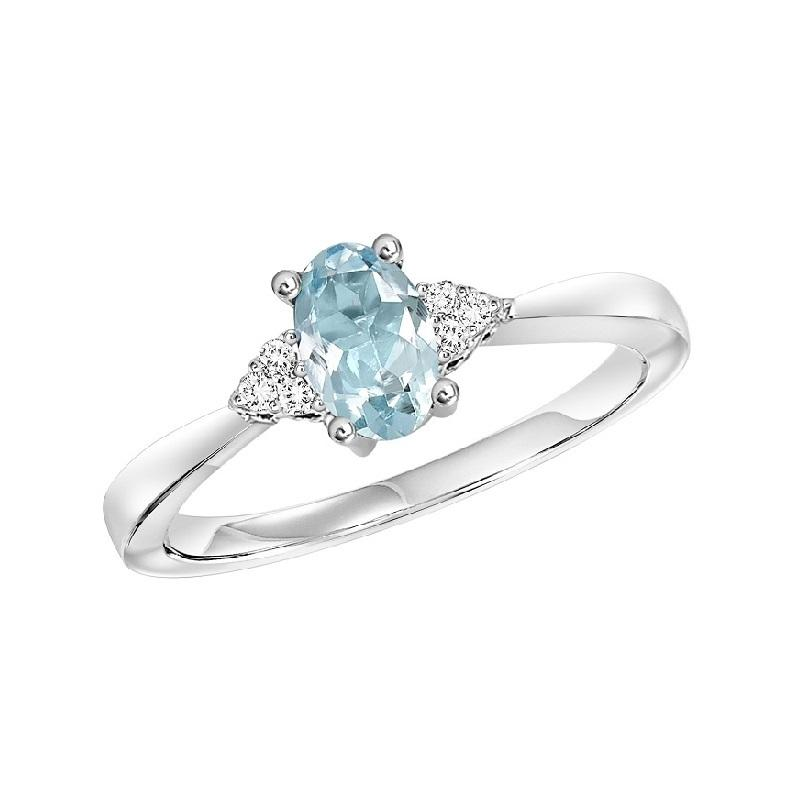 10KT White Gold Birthstone Ring - Aquamarine - March