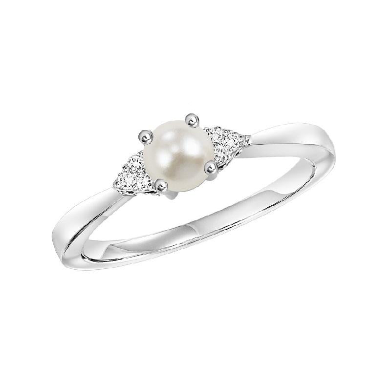 10KT White Gold Birthstone Ring - Pearl - June
