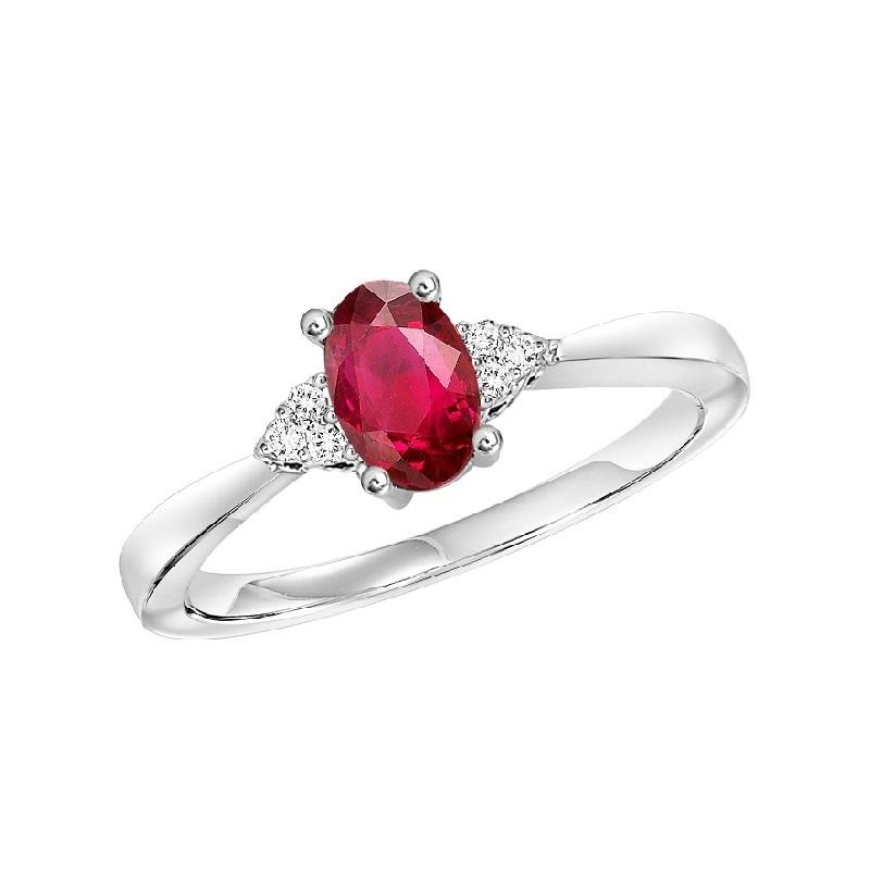 10KT White Gold Birthstone Ring - Ruby - July