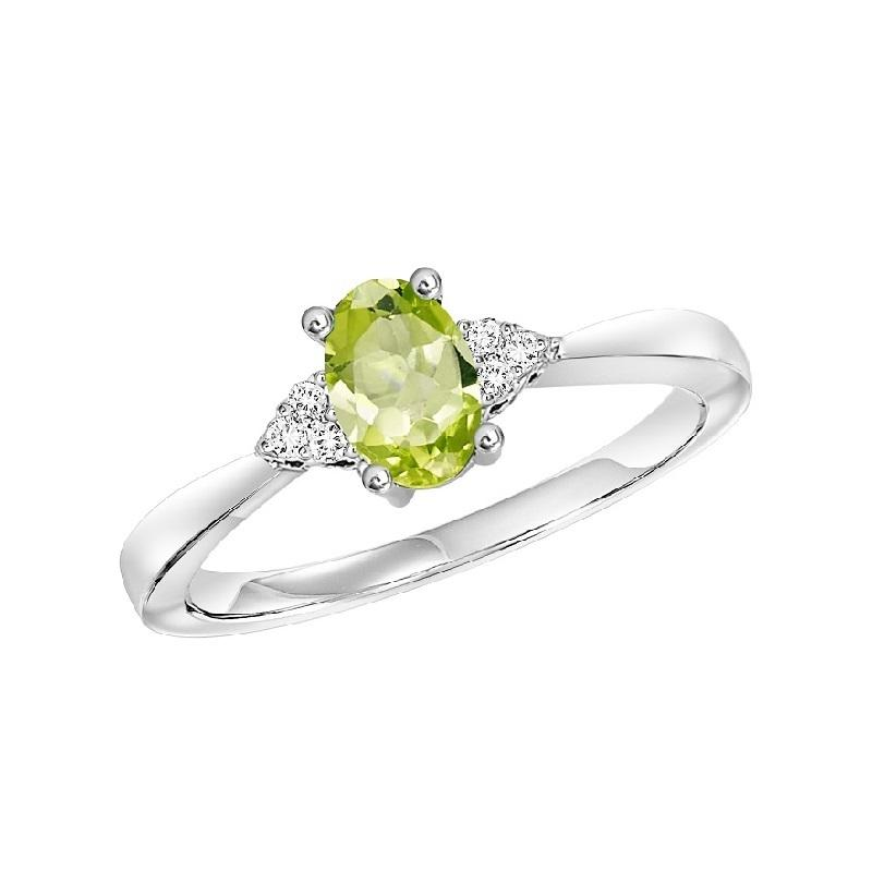 10KT White Gold Birthstone Ring - Peridot - August