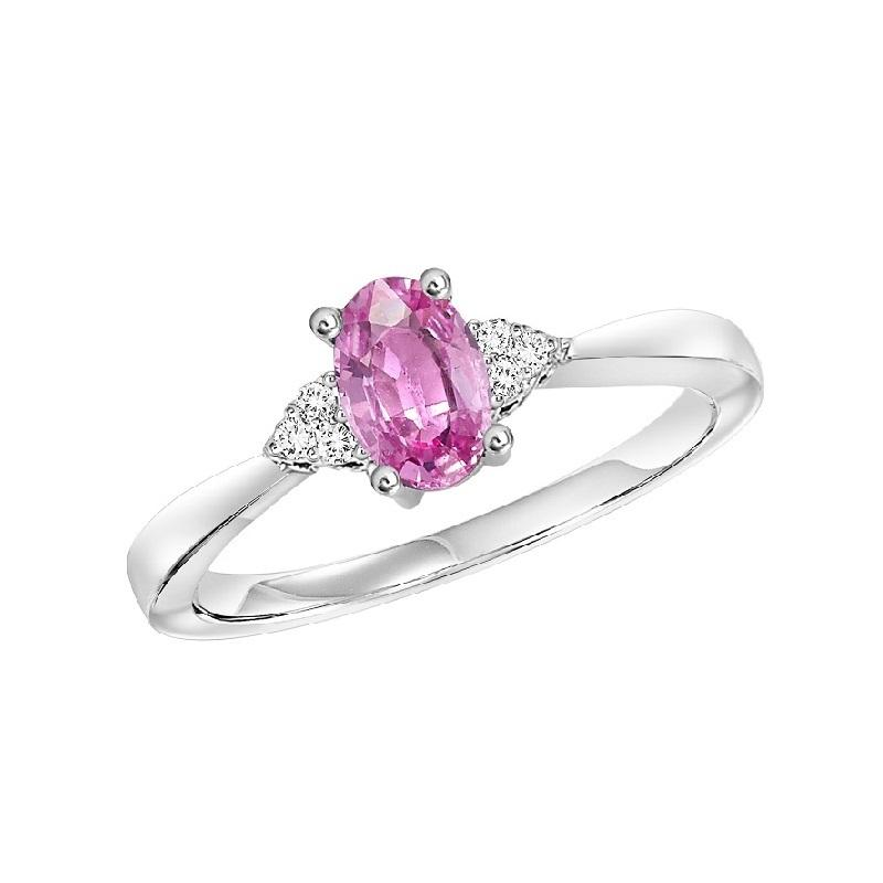 10KT White Gold Birthstone Ring - Pink Tourmaline - October