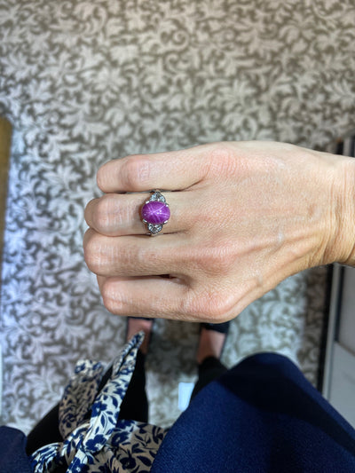 White Gold Synthetic Purple Star Sapphire Ring