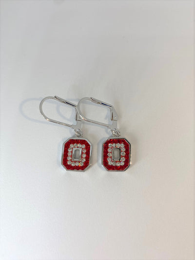 "Ohio State Big Block ""O"" Leverback Earrings"
