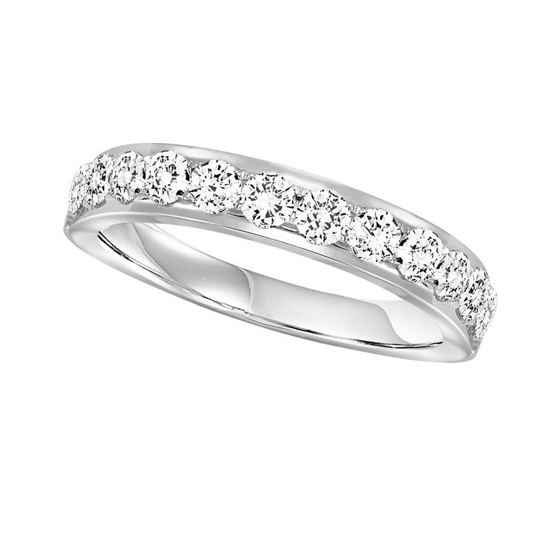 14KT White Gold Round Diamond Overture Band 1 ctw