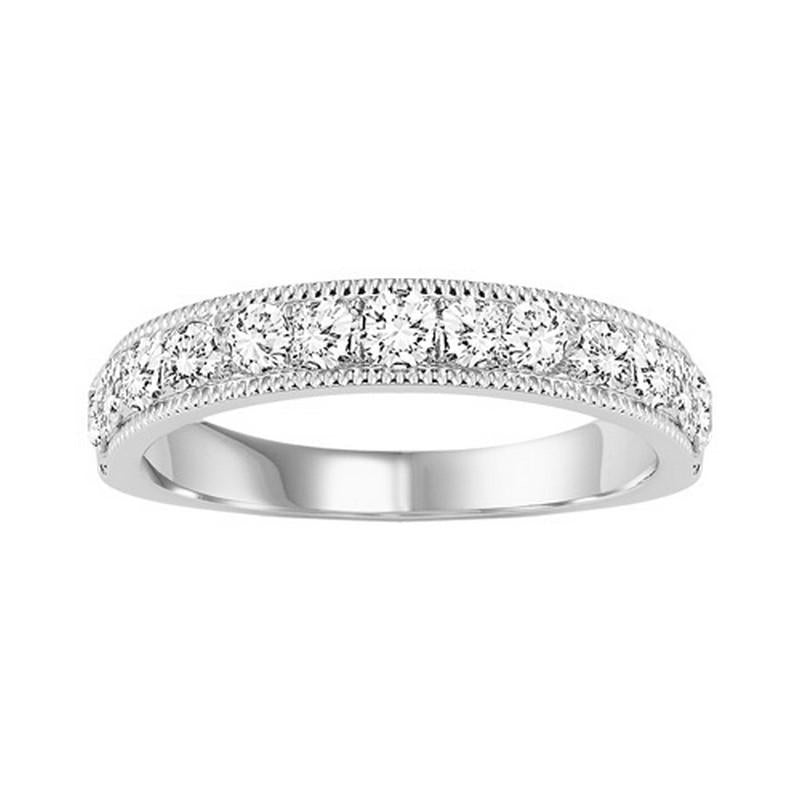 14KT White Gold Round Diamond Milgrain Overture Band 1/6 ctw