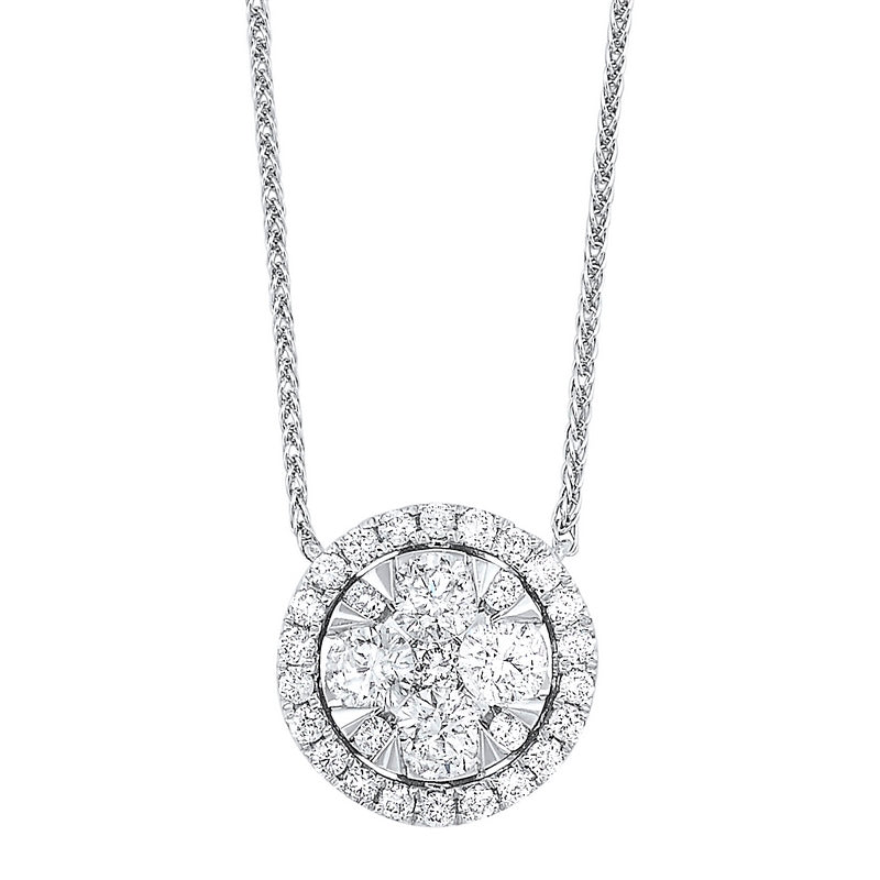 Diamond Starburst Eternity Circle Cluster Pendant Necklace In 14k White Gold (1/4 Ctw)