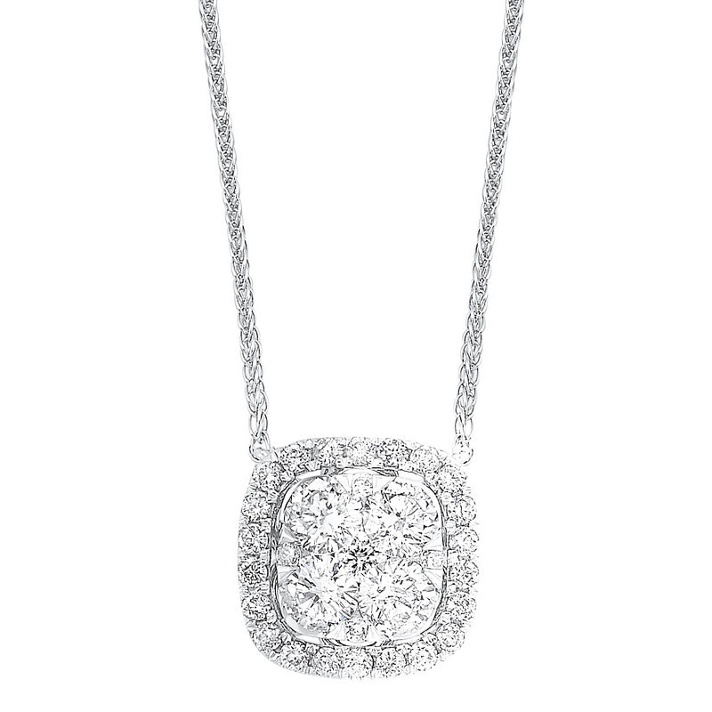 Diamond Cushion Cluster Halo Pendant Necklace In 14k White Gold (1/4 Ctw)