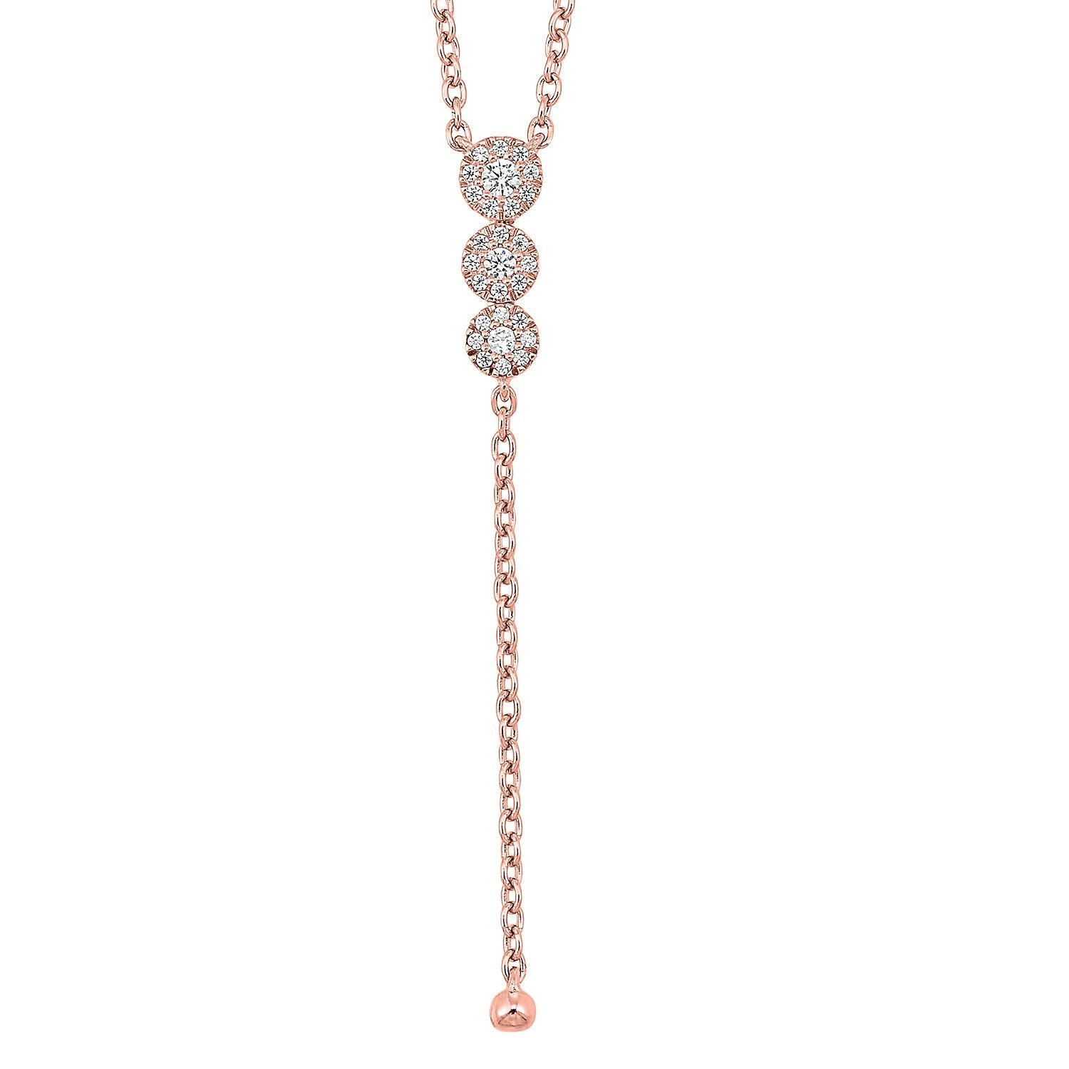 14K Rose Gold Diamond  Y Necklace 1/10 ctw