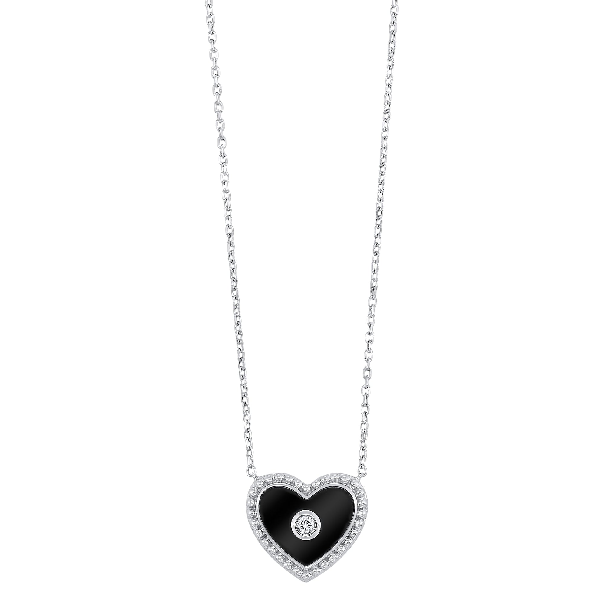 Silver Black Diamond Heart Pendant