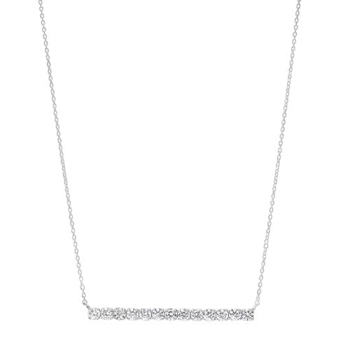 Diamond Bar Pendant Layer Necklace in 14k White Gold (½ ctw)
