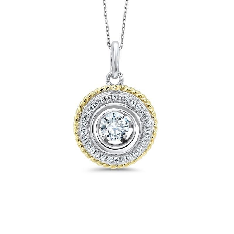 Silver Pendant with Gold Tone and Floating CZ gemstone