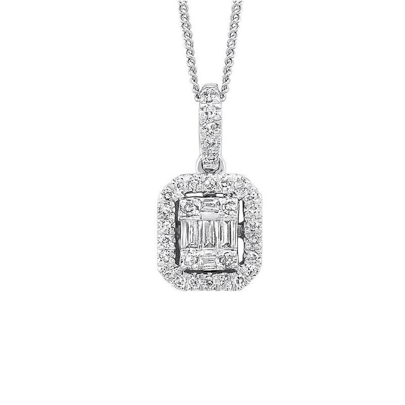 14K White Gold Square Diamond Pendant with Halo - 1/4 CTW