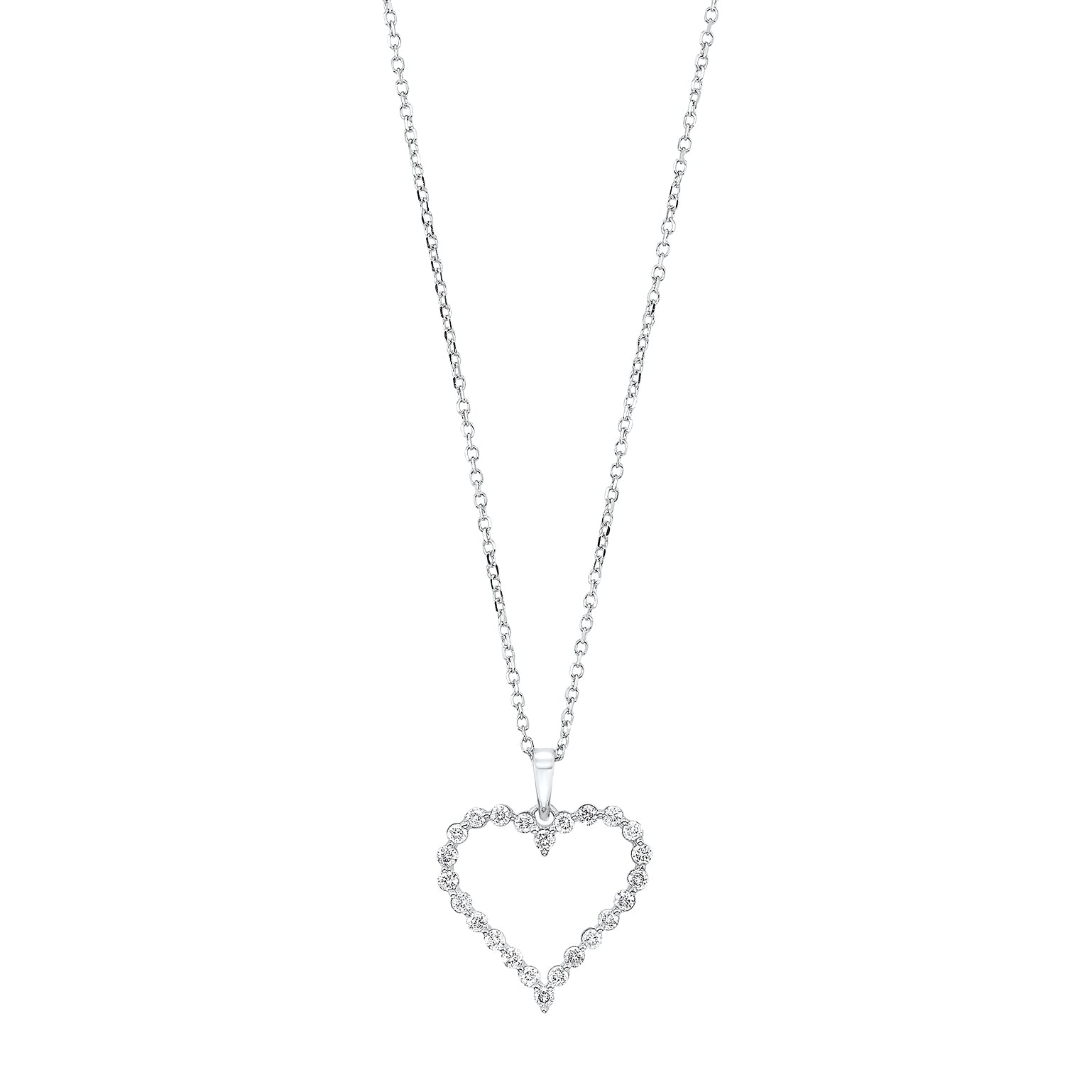 Diamond Open Heart Pendant Necklace In 14k White Gold (1/4ctw)