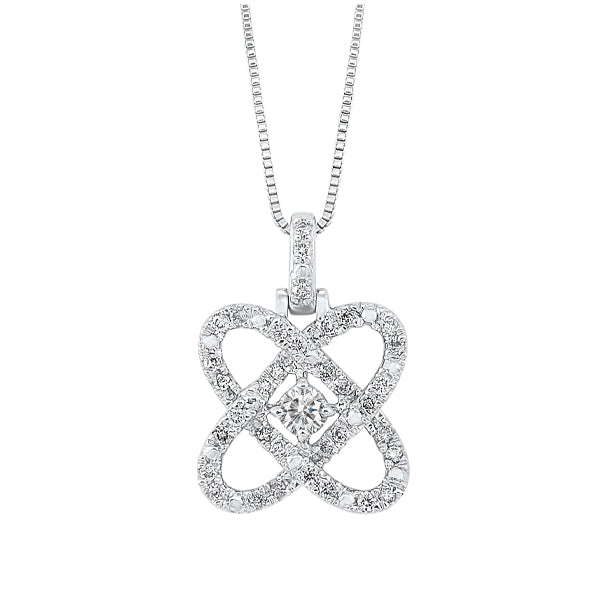 Diamond Infinity Love Heart Knot Pendant Necklace In 14k White Gold (3/4 ctw)
