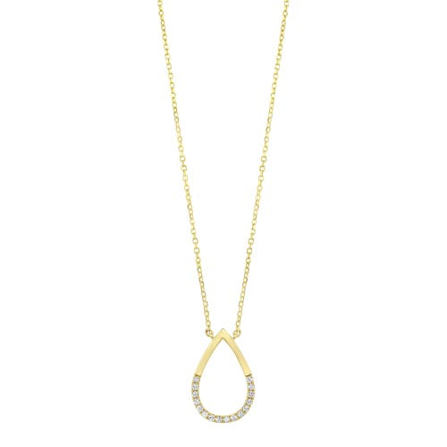 Diamond Half-Eternity Teardrop Pendant In 14k Yellow Gold (0.08ctw)