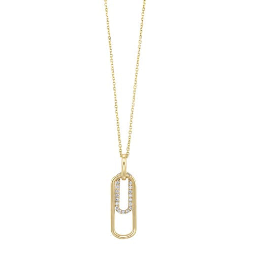 Diamond Double Tag Pendant Necklace In Gold (1/10ctw)