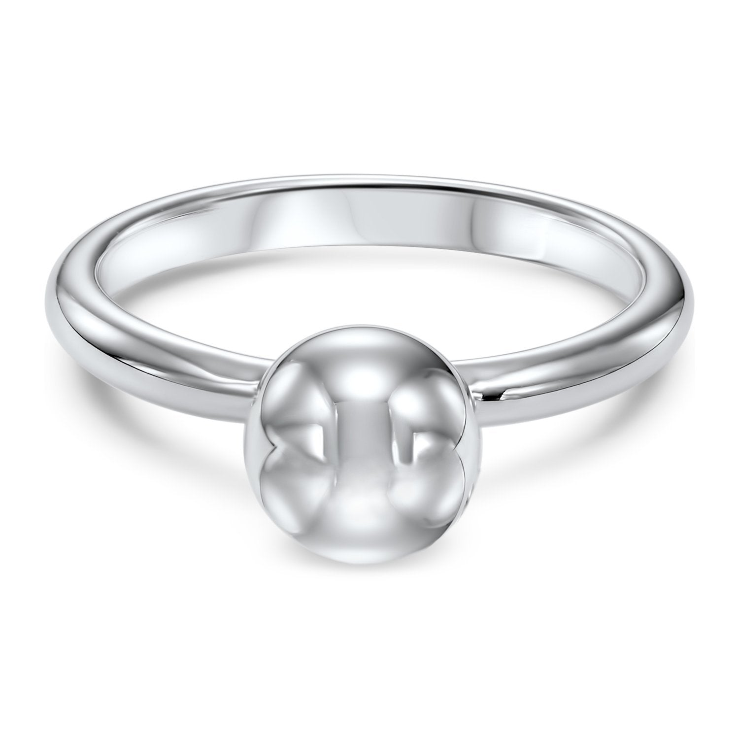 Silver Spherical Polished Ring
