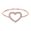 14K Rose Gold Open Heart Diamond Ring