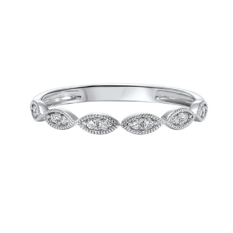 10KT White Gold Marquise-Shaped Diamond Stackable Ring 1/8 CTW