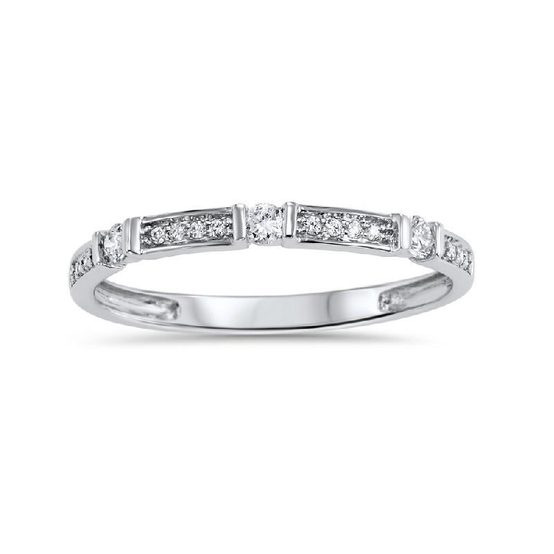 10KT White Gold Geometric Diamond Stackable Ring - 1/6 CTW