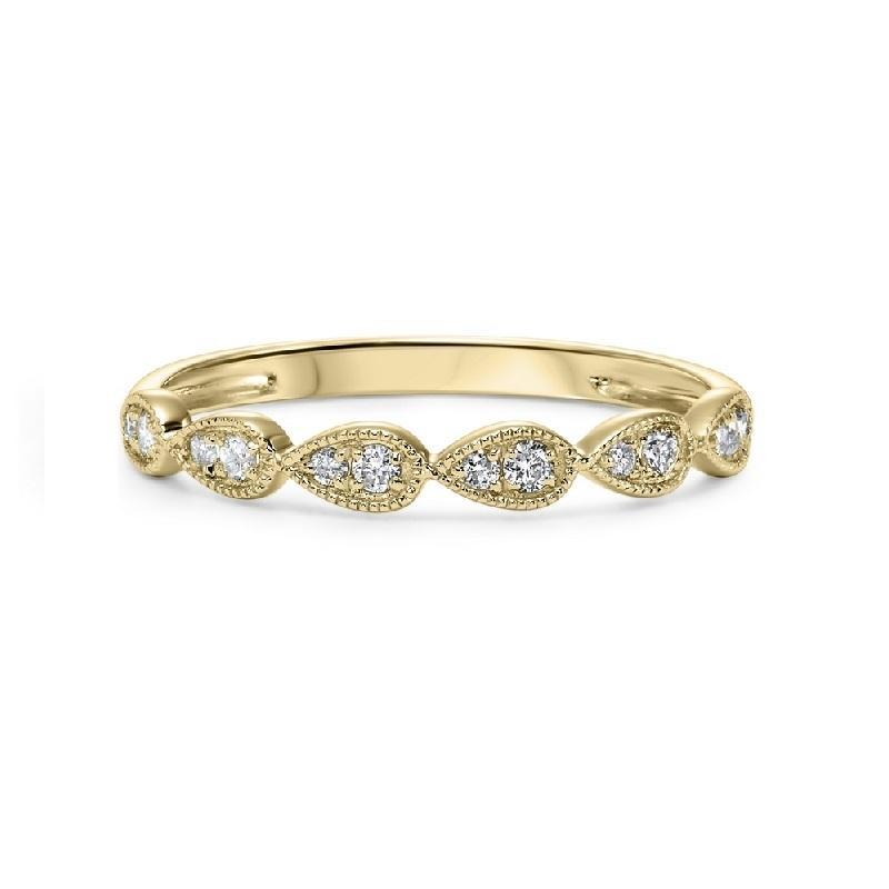 10K Yellow Gold Teardrop Diamond Stackable Ring