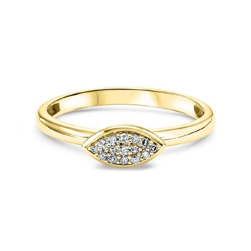 14K Yellow Gold Marquise-Shaped Diamond Stackable Ring - 1/10 CTW