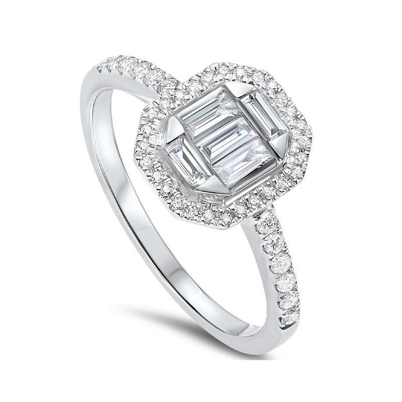 14K White Gold Diamond Ring with Baquette Diamonds and Halo 1/2 CTW