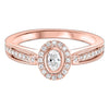 14K Rose Gold Oval Diamond Engagement Ring 1/3 CTW