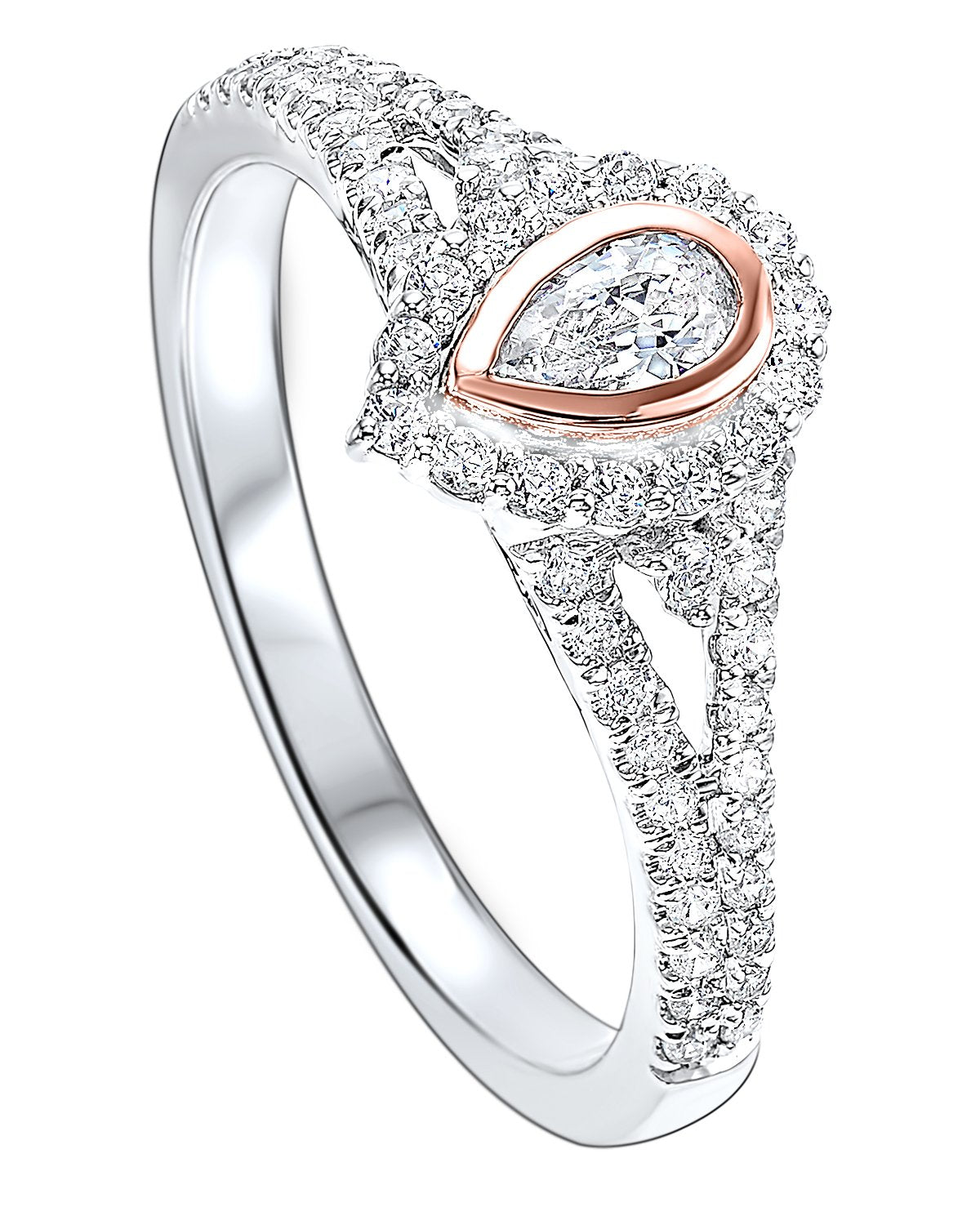 14K Two-Tone Pear-Shaped Diamond Ring --1/2 ctw