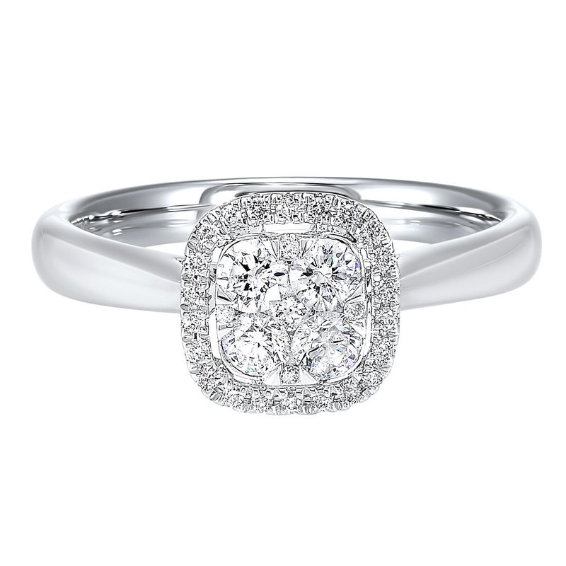 Diamond Halo Cluster Cushion Ring In 14k White Gold (1/4 Ctw)