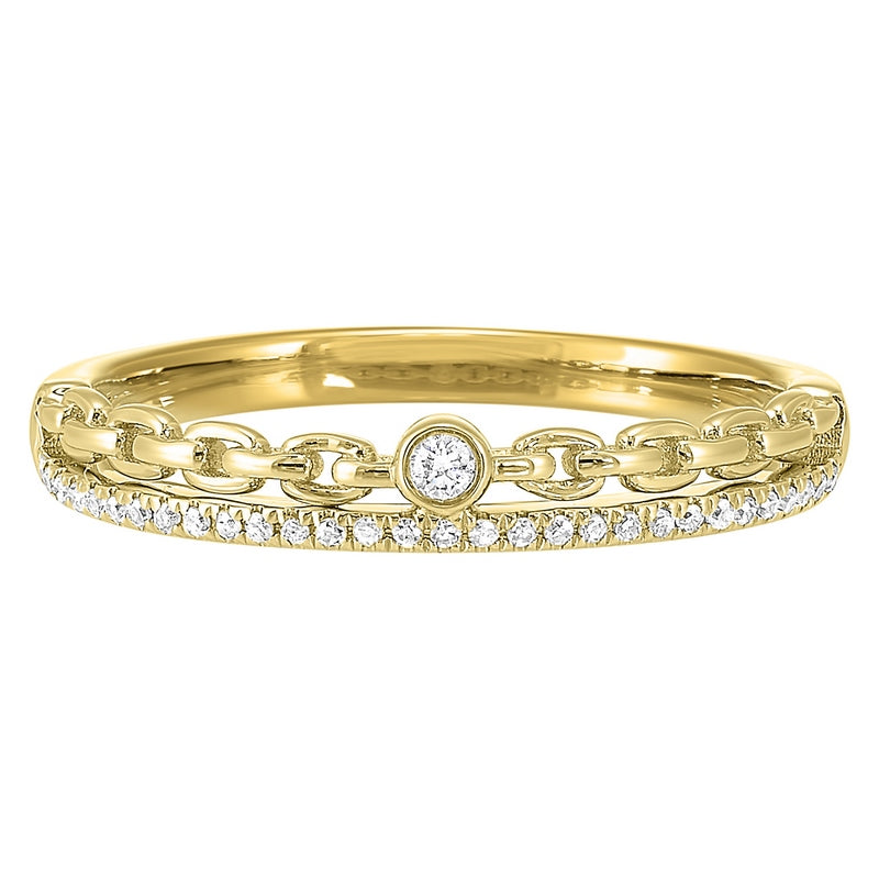 Diamond Eternity Cable Chain Stackable Split Band In 14k Yellow Gold (1/10 Ctw)