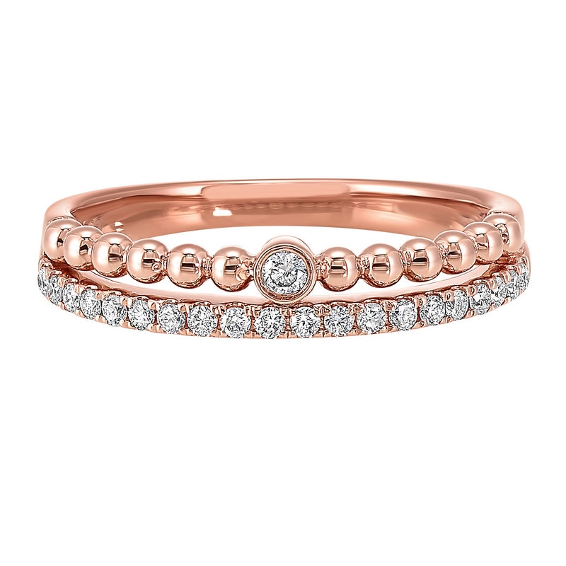 Diamond Eternity Ball-Bead Stackable Split Band In 14k Rose Gold (1/5 Ctw)