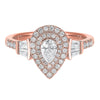 14K Rose Gold Pear Engagement Ring 3/4 CTW