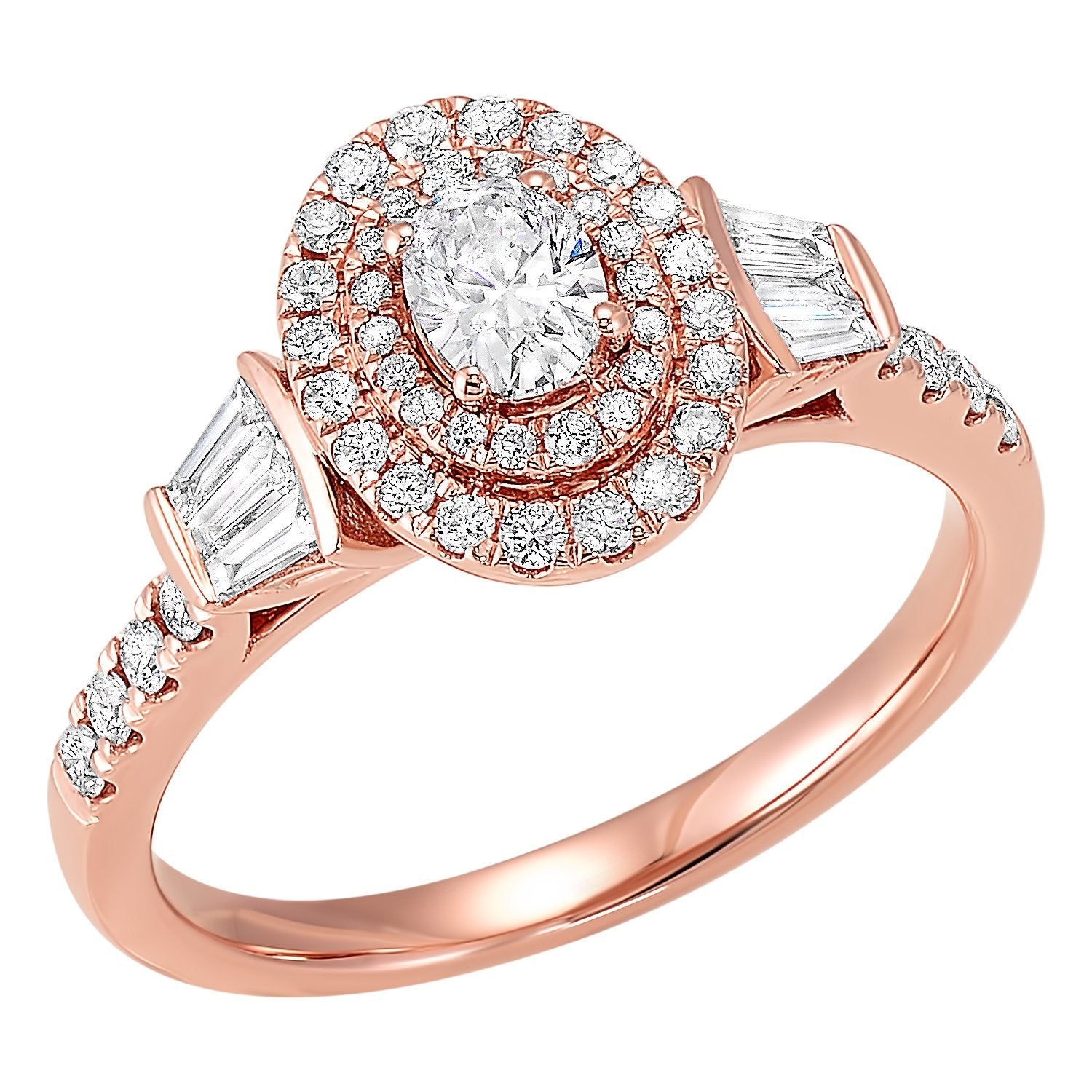 14K Rose Gold Oval Diamond Engagement Ring 3/4 CTW