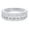 Triple Row Diamond Stackable Band In 14k White Gold