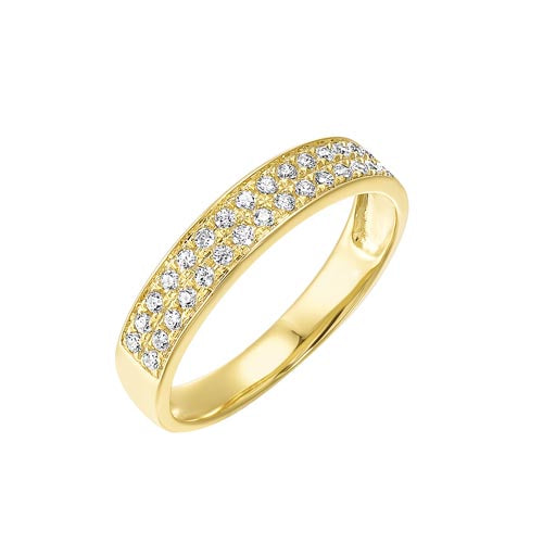 Diamond Double Row Stackable Ring In 14k Yellow Gold (1/4ctw)