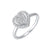 Diamond Halo Heart Cluster Promise Ring In Sterling Silver (1/5ctw)
