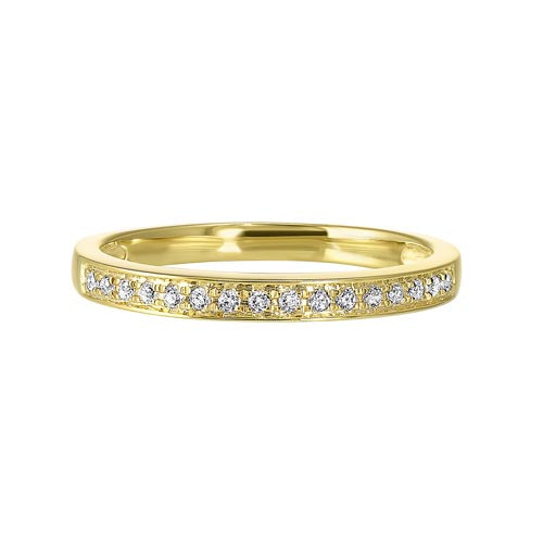 Diamond Channel Stackable Band In 14k Yellow Gold (1/10ctw)
