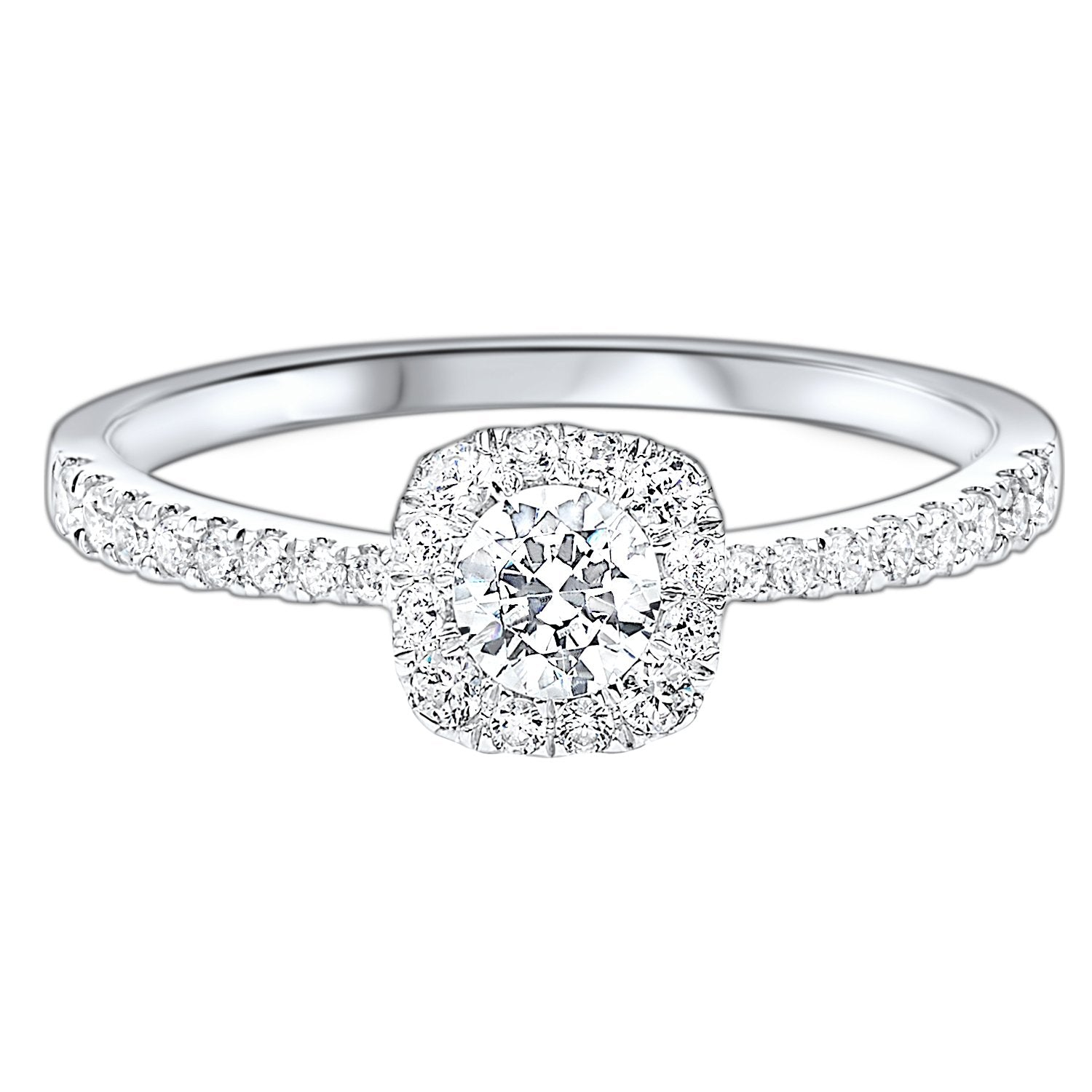 14K Round Diamond Ring with Square Halo -- 1/2 ctw