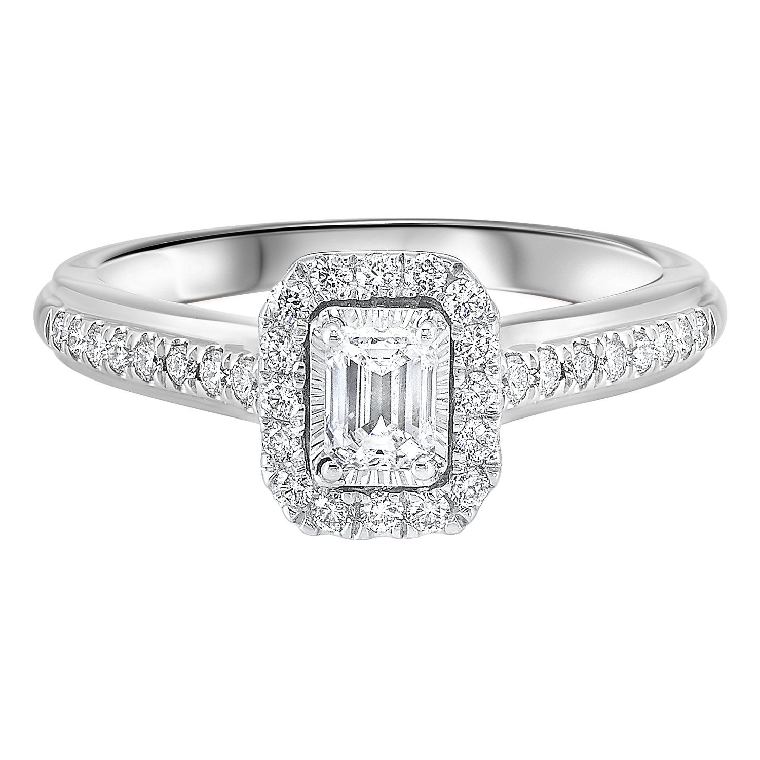 14K White 1/2 CTW Emerald Cut Ring with 1/3 CT center