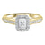 14K Two-Toned White-Yellow 1/2 CTW Emerald Cut Ring with 1/3 CT Center