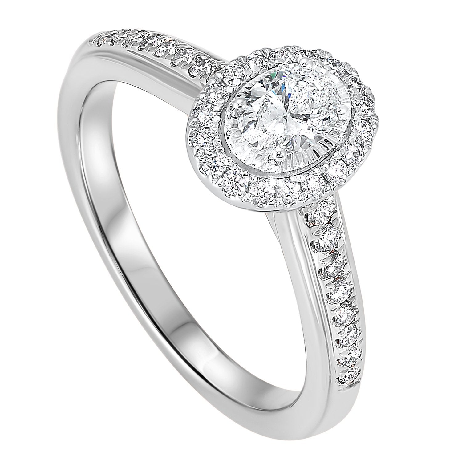 14K White 1/2 CTW Diamond Oval Ring with 1/3 CT Center