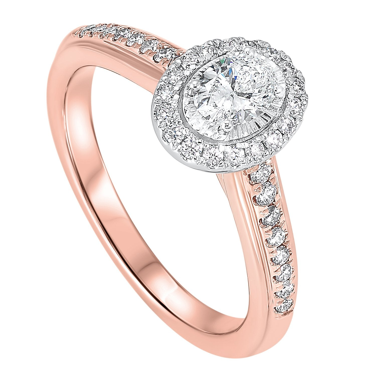 14KT Rose Gold Diamond Oval Bridal Ring 5/8 CT