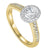 14K Two-Toned White-Yellow 1/2 CTW Oval Ring with 1/3 CT Center