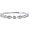 Diamond Bezel Marquise Milgrain Stackable Band In 14k White Gold (1/10 Ctw)