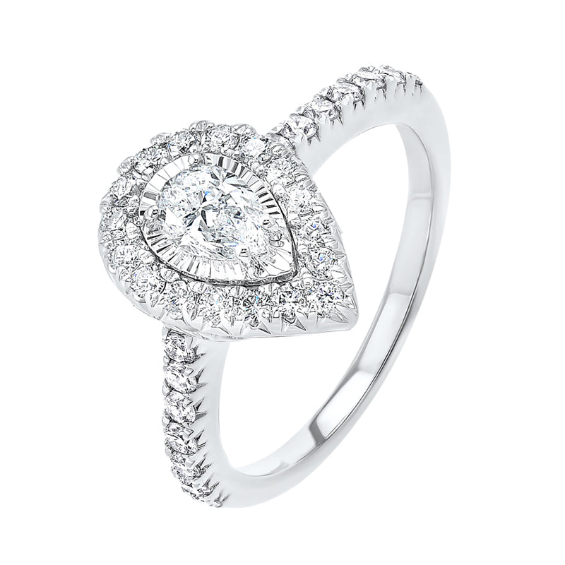 Pear Shape Starburst Halo Diamond Engagement Ring In 14k White Gold (1ctw)
