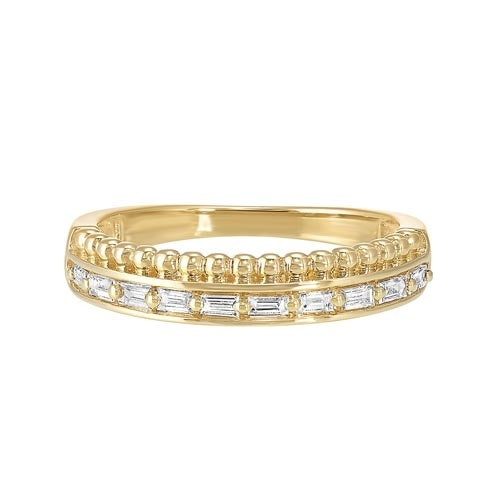 Diamond Double Decker Anniversary Wedding Band in 14k Yellow Gold