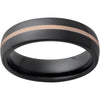 Black Diamond Ceramic™ Domed Band with 1mm 14K Rose Gold Inlay