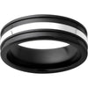 Black Diamond Ceramic™ Band with 2mm Sterling Silver Inlay